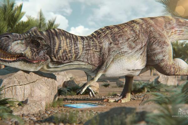 Динозавр пытается дотянуться до планшета
