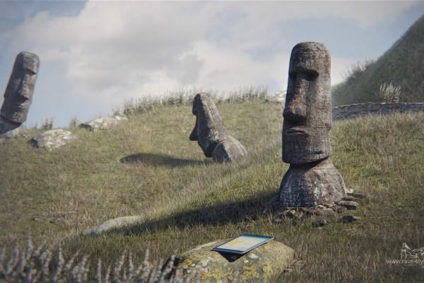 Статуи острова пасхи и планшет