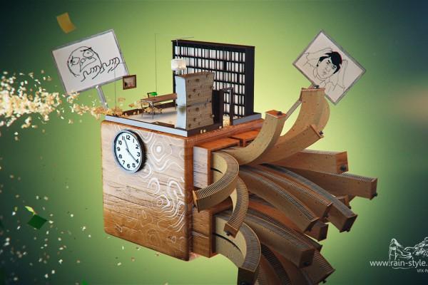 Куб с офисными элементами