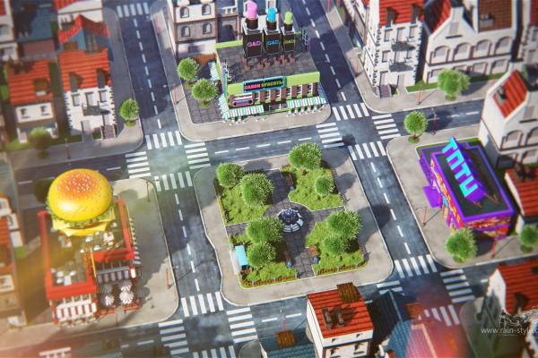Игрушечный город с высоты птичьего полета