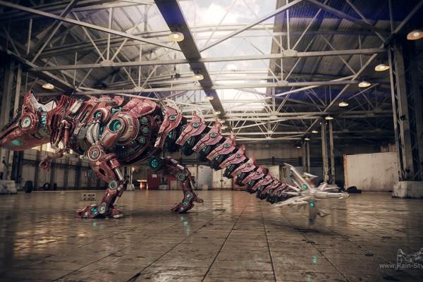 Робот динозавр сзади