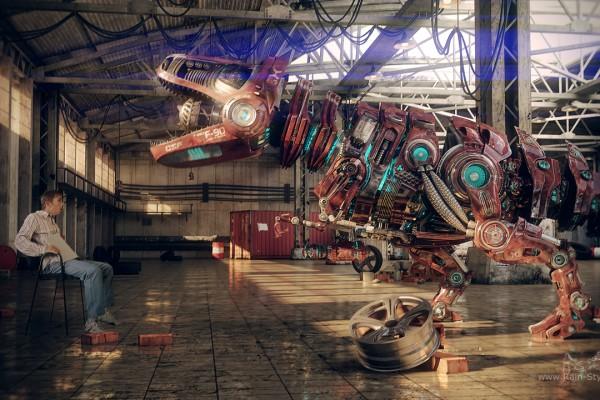 Робот динозавр рычит