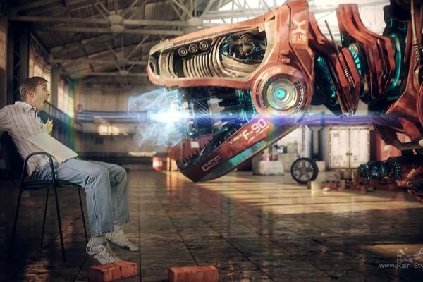 Робот динозавр накапливает энергию