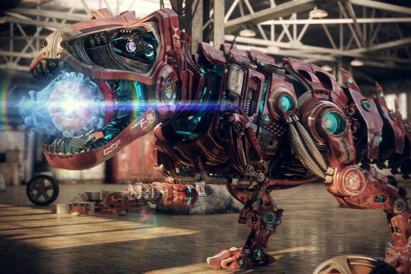 Робот динозавр готов совершить выстрел