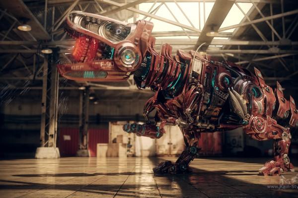 Робот динозавр в полный рост