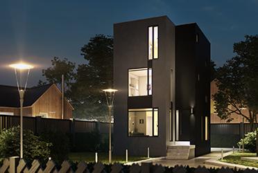 Экстерьер трёхэтажного дома